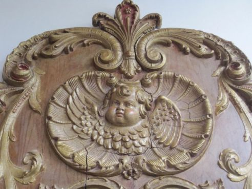 Winged Cherub (detail of a carved wooden & guilt mirror)